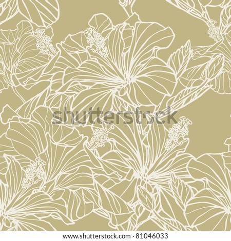 Elegance Seamless pattern with flowers lilies, vector floral illustration in vintage style