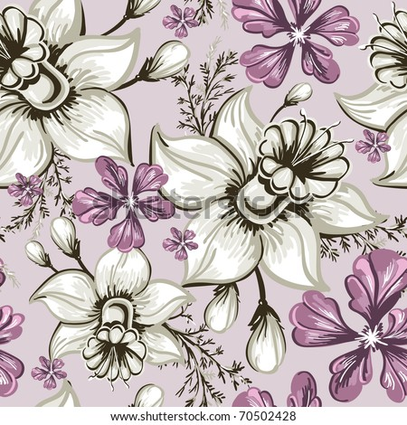 Elegance Seamless pattern with flowers narcissus and iris, vector floral illustration in vintage style