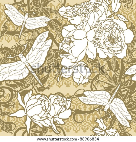 Elegance Seamless pattern with flowers roses and dragonflies, vector floral illustration in vintage style