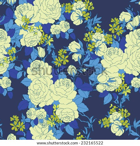 Elegance Seamless pattern with flowers roses floral illustration in vintage style