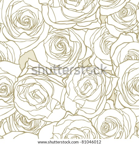 Elegance Seamless pattern with flowers roses, vector floral illustration in vintage style - stock vector