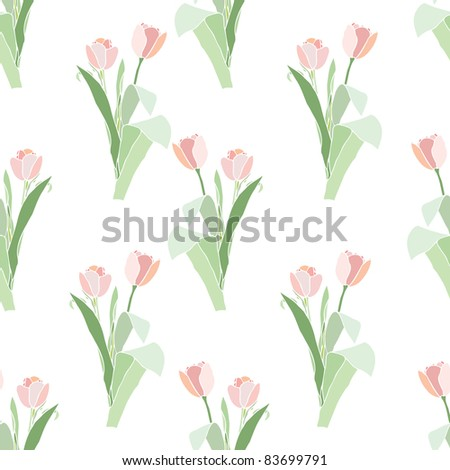 Elegance Seamless pattern with flowers tulips, vector floral illustration in vintage style
