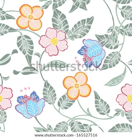 Elegance Seamless pattern with flowers vector floral illustration in vintage style