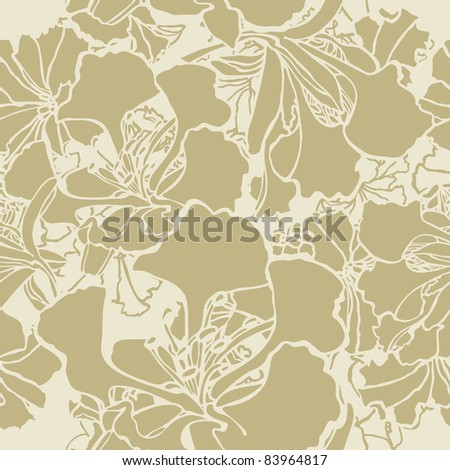Elegance Seamless pattern with flowers, vector floral illustration in vintage style