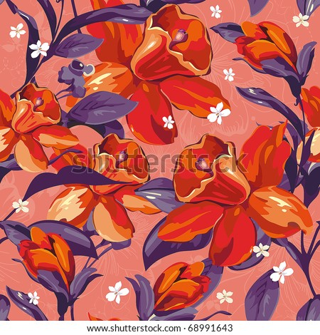Elegance Seamless pattern with of flowers on red background, floral vector illustration - stock vector