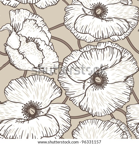 Elegance Seamless pattern with poppy flowers, vector floral illustration in vintage style