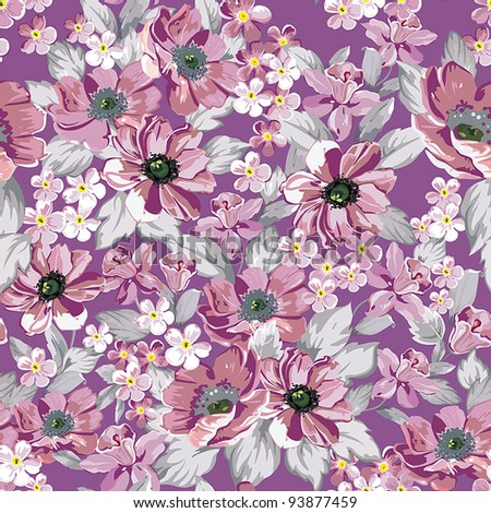 Elegance Seamless wallpaper pattern with of pink flowers on floral background, vector illustration
