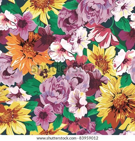 Elegance Seamless wallpaper pattern with of pink roses on violet floral background, vector illustration