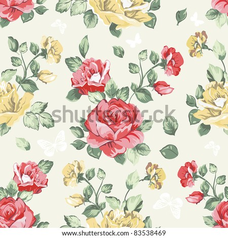 Elegance Seamless wallpaper pattern with of pink roses, vector illustration