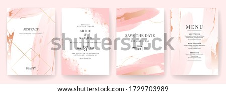 Elegant abstract background. Wedding invitation card template set with watercolor splash and gold decoration. Brush stroke for save the date, greeting, poster, and cover design