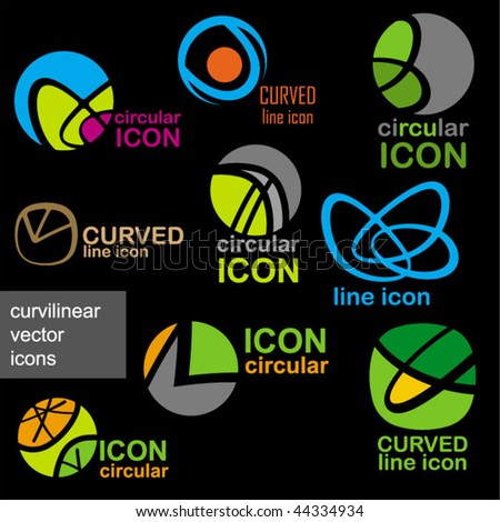 elegant abstract curved vector icons
