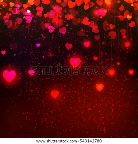 Elegant Abstract Glow Soft Flying colorful, shiny, Blur, love Hearts with bokeh for Valentines Day Background Design, banner template, flyer, invitation. Vector Illustration