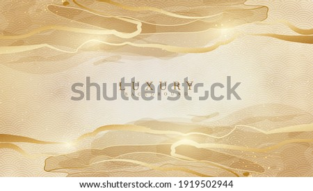 Elegant abstract gold background with shiny elements. Japanese watercolor luxury style modern concept. vector illustration for design.