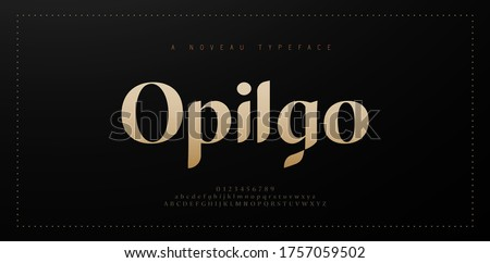 Elegant alphabet letters font and number. Classic Copper Lettering Minimal Fashion Designs. Typography fonts regular uppercase and lowercase. vector illustration Foto d'archivio ©