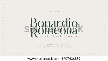 Elegant alphabet letters font and number. Classic Lettering Minimal Fashion Designs. Typography modern serif fonts decorative vintage wedding concept. vector illustration