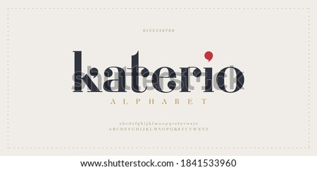 Elegant alphabet letters font. Classic Modern Serif Lettering Minimal Fashion Designs. Typography  decoration fonts for branding, wedding, invitations, logos. vector illustration Foto d'archivio ©