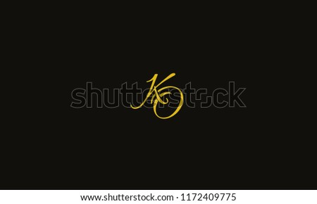 Elegant Alphabetical K O ,K,O vector designs in yellow color with dark background