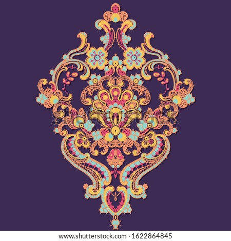 Elegant and beautiful paisley and baroque elements