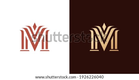elegant and classy letter M monogram with law pillars element, luxury letter M logo template Сток-фото ©