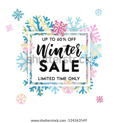 Elegant and fun winter lettering design with shiny and bright snowflakes in frame on white background. Vector illustration EPS 10