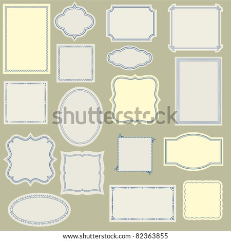 Elegant and Simple Vintage Labels, Frames and Stickers, with various Borders, to Use with Your Designs, on a Web Site or in Scrapbook Projects, Large Set