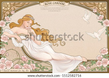 Elegant art nouveau style goddess lying nearby roses garden with elaborated frame
