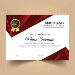 Elegant award diploma certificate design template, Certificate of diploma with modern design