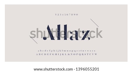 Elegant awesome alphabet letters font and number. Classic Lettering Minimal Fashion Designs. Typography fonts regular uppercase and lowercase. vector illustration #1396055201