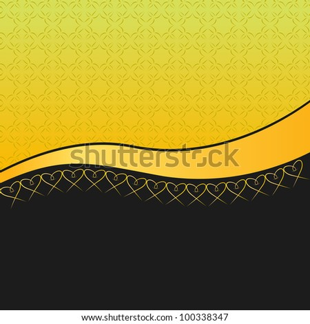 elegant background with a pattern, golden ribbon and line of hearts
