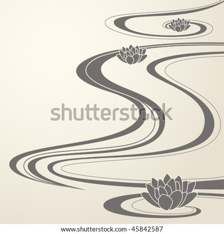 elegant background with abstract water waves and lotuses - stock vector