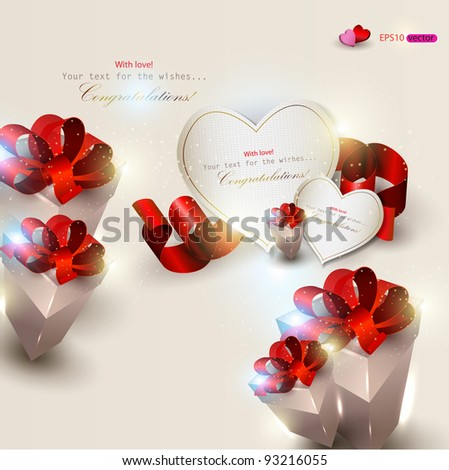 Elegant background with gifts and gift cards