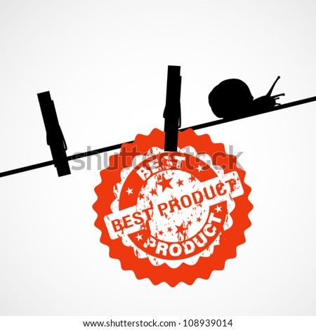 Elegant background with silhouette of clothes peg and snail - sticker best product