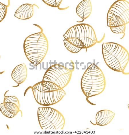 Elegant background with tree leaf. Vector endless pattern