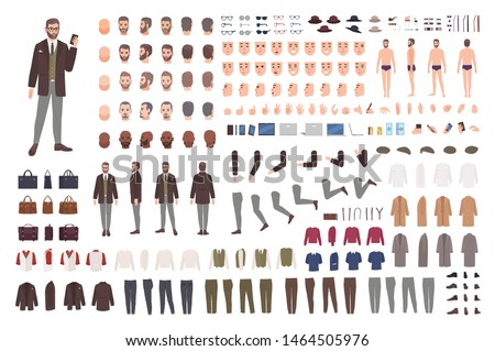 Elegant bearded man in suit animation set or constructor kit. Bundle of body parts, postures, hairstyles, formal clothes. Male cartoon character. Front, side, back views. Flat vector illustration.