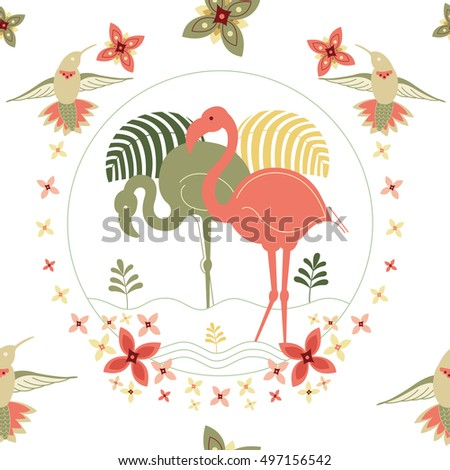 Elegant beautiful seamless pattern with flamingo and hummingbirds.