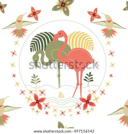 Elegant beautiful seamless pattern with flamingo and hummingbirds.