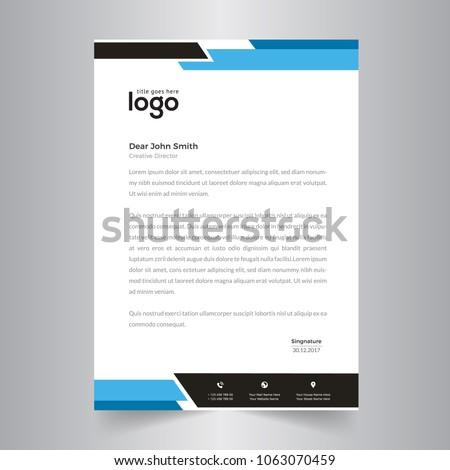 elegant black & blue letterhead template design