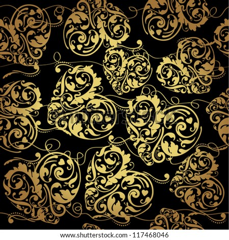 Elegant black golden seamless pattern