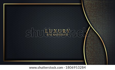 Elegant Black Luxury background concept with dark gold and glitter texture. Vector Illustration with Eps 10