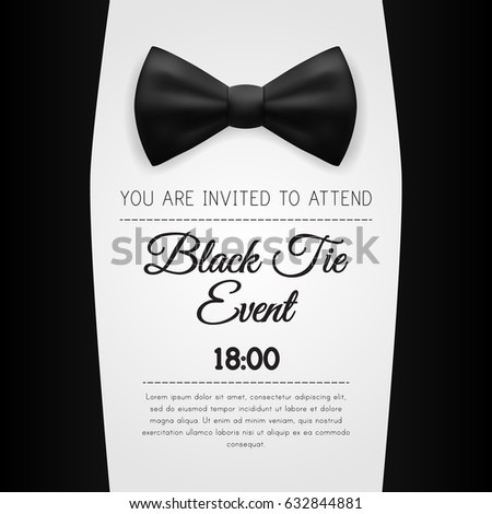 Elegant Black Tie Event Invitation Template. EPS10 Vector