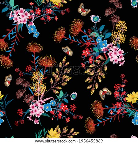 Elegant Blooming Garden floral and butterflies in small hand draw flower with many kind of botanical plants seamless background Liberty style,Design for fashion , fabric, textile, wallpaper