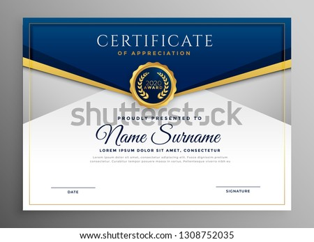 elegant blue and gold diploma certificate template