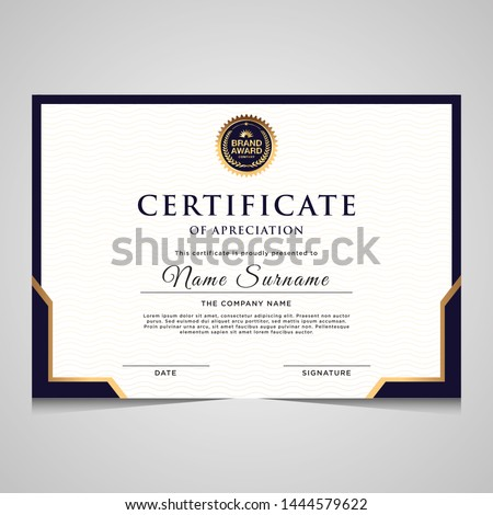 elegant blue and gold diploma certificate template. Use for print, certificate, diploma, graduation