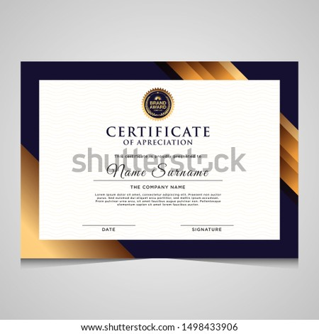 Elegant blue and gold diploma modern certificate template.Use for print, certificate, diploma, graduation