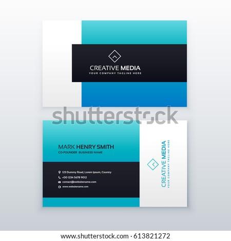 elegant blue business card design template