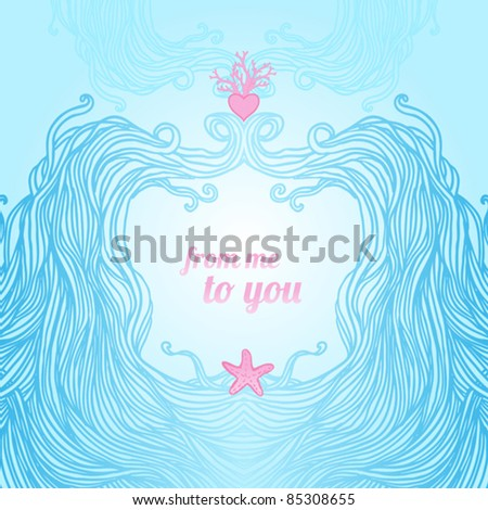 Elegant blue patterned frame with waves, heart and starfish