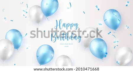 Elegant blue white ballon and party propper ribbon Happy Birthday celebration card banner template background