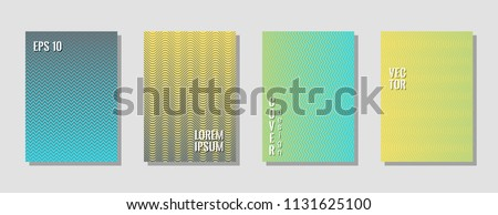Elegant blue yellow zig zag banner templates, wavy lines gradient stripes backgrounds for music party cover. Curve shapes stripes, zig zag edge lines halftone texture gradient cover templates.