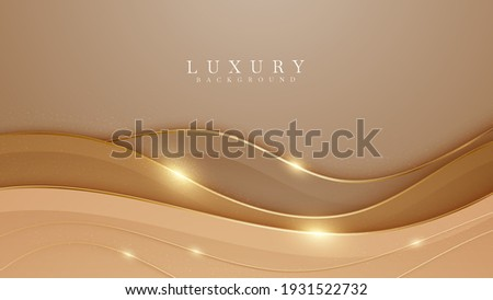 Elegant brown shade background with line golden elements. Realistic luxury paper cut style 3d modern concept. vector illustration for design.