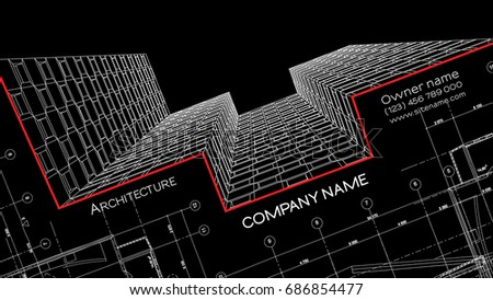 Modern business card for graphic designer vector download vetores elegant business card for an architect abstract vector illustration 3d architectural background for banner reheart Gallery